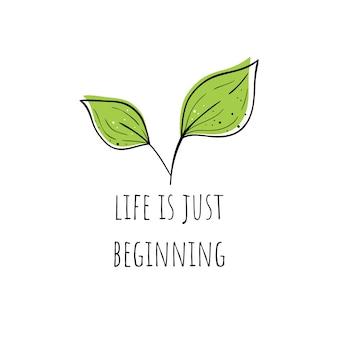 Illustrazione vettoriale di una pianta. la vita è solo all'inizio. motivi scandinavi.