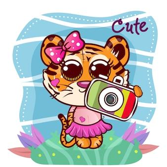 Illustrazione vettoriale di una tigre carina con fotocamera. - vettore