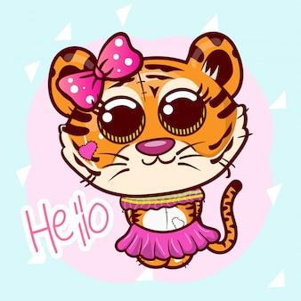 Illustrazione vettoriale di una tigre carina. - vettore