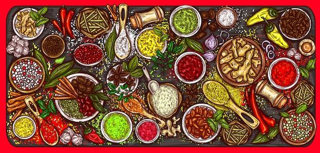 Illustrazione vettoriale di una varietà di spezie e erbe su uno sfondo in legno