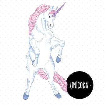 Illustrazione vettoriale di unicorno bianco con cuori