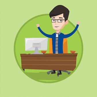 Illustrazione vettoriale di uomo d'affari di successo.