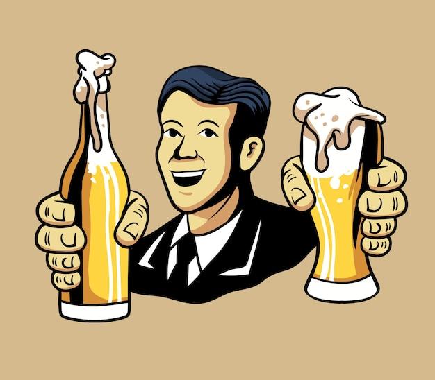Illustrazione vettoriale di uomo retrò che offre birra.