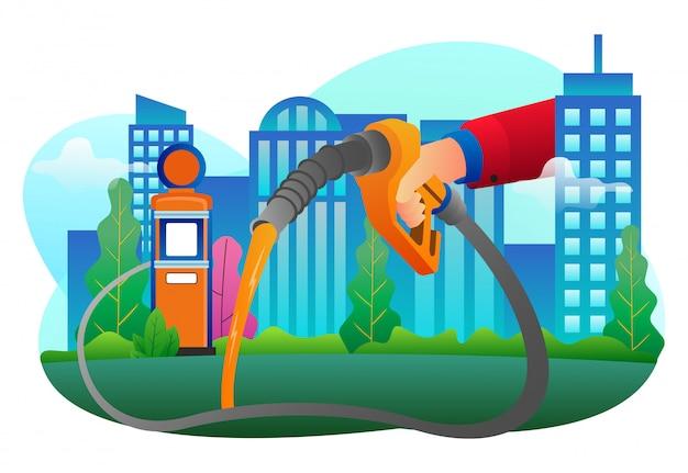 Illustrazione vettoriale di uso continuo di carburante in una grande città per landing page e web design