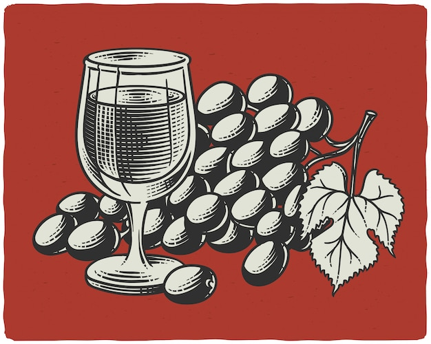 Illustrazione vettoriale di uva e bicchiere di vino