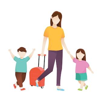 Illustrazione vettoriale di viaggio con la famiglia