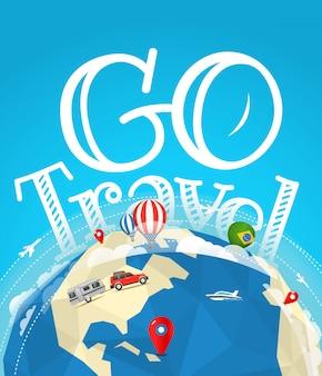 Illustrazione vettoriale di viaggio estivo. vai concetto di viaggio