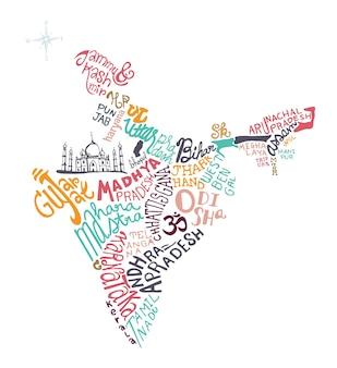 Illustrazione vettoriale disegnato a mano mappa india,