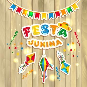 Illustrazione vettoriale festa junina su di legno