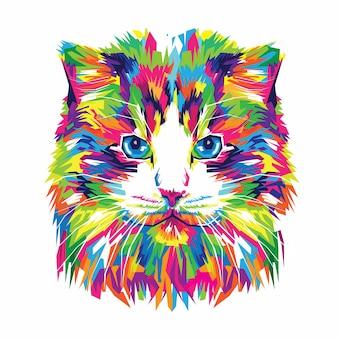 Illustrazione vettoriale gatto colorato