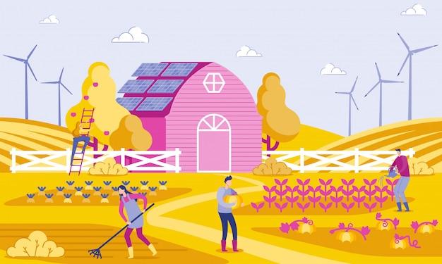 Illustrazione vettoriale green energy in farm flat.