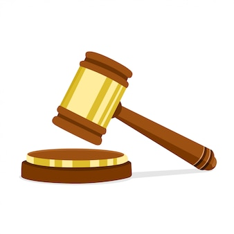 Illustrazione vettoriale in design piatto martello giudice in legno del presidente per l'aggiudicazione di sentenze e fatture. legge legale e simbolo dell'asta.