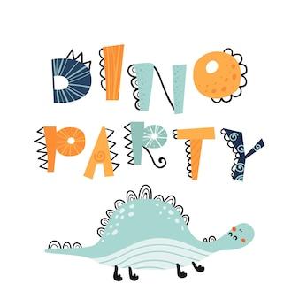 Illustrazione vettoriale in stile cartone animato con scritte dino party.