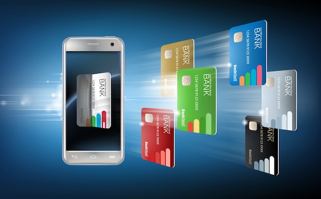 Illustrazione vettoriale in uno stile realistico il concetto di pagamenti mobili utilizzando l'applicazione sul tuo smartphone.