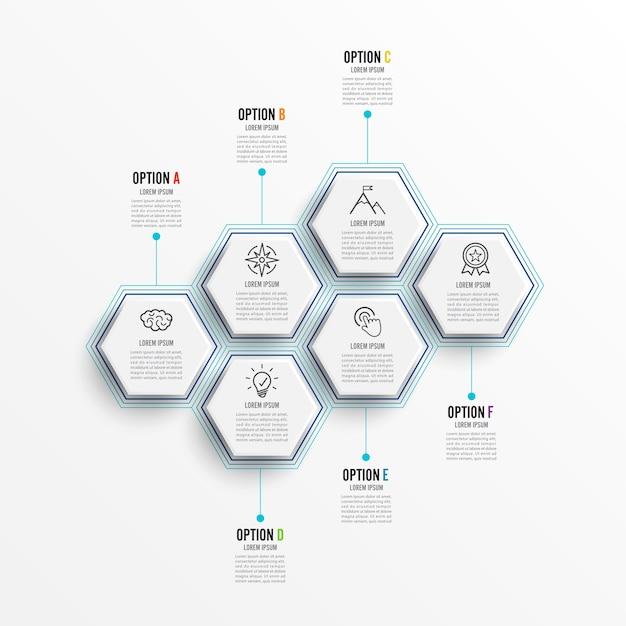 Illustrazione vettoriale infografica 6 opzioni