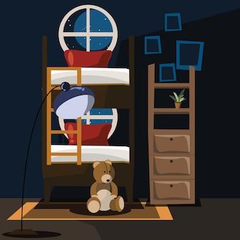 Illustrazione vettoriale interni camera da letto