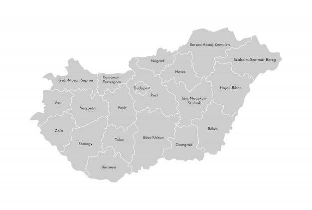 Illustrazione vettoriale isolato della mappa amministrativa semplificata dell'ungheria. confini delle province (regioni). sagome grigie contorno bianco