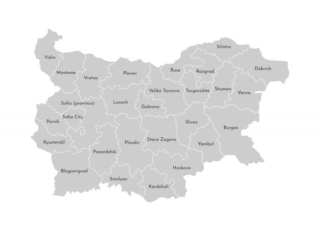 Illustrazione vettoriale isolato della mappa amministrativa semplificata della bulgaria