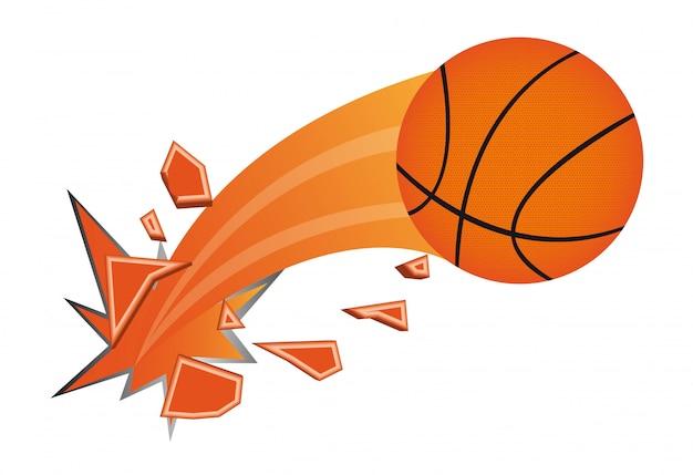 Illustrazione vettoriale isolato palla da basket arancione rotto