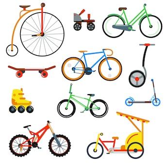 Illustrazione vettoriale isolato stile piano bicicletta