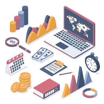 Illustrazione vettoriale isometrica. computer portatile con elementi di infografica. collezione di oggetti aziendali.