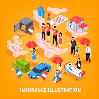 Illustrazione vettoriale isometrica di assicurazione