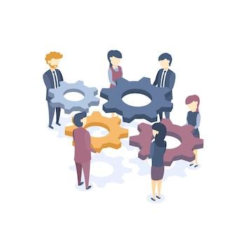 Illustrazione vettoriale isometrica. il concetto di lavoro di squadra aziendale. soluzioni per problemi aziendali. formazione aziendale. stile piatto