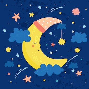 Illustrazione vettoriale la luna nel cielo dorme. buona notte