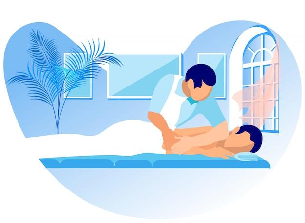 Illustrazione vettoriale massaggio di riabilitazione cartoon