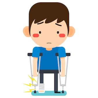 Illustrazione vettoriale, minuscolo simpatico personaggio dei cartoni animati paziente uomo rotto gamba destra in bendaggio di gesso o gamba intonacata in piedi con stampella ascellare