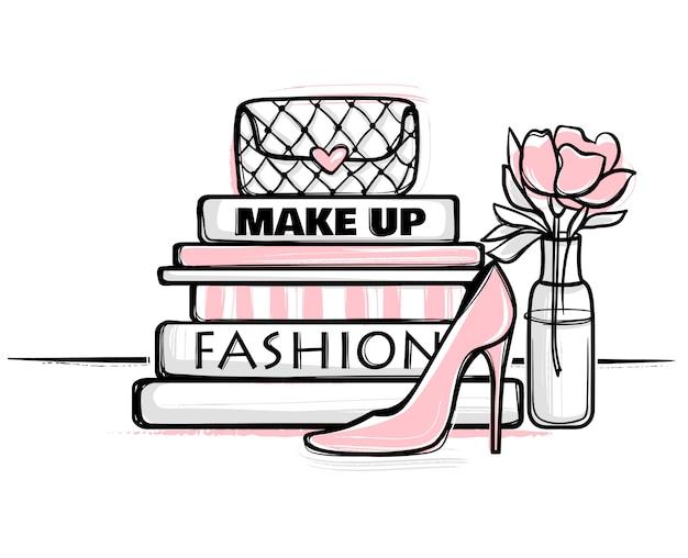 Illustrazione vettoriale moda bello concetto disegnato a mano per ragazze.