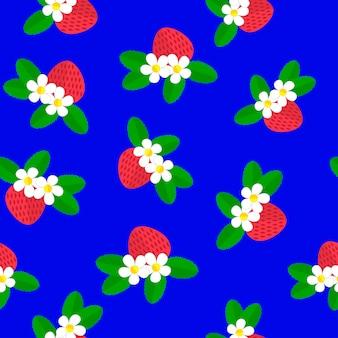 Illustrazione vettoriale modello senza cuciture con le fragole, i fiori bianchi e le foglie verdi della bacca rossa su un blu.