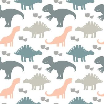 Illustrazione vettoriale modello senza cuciture sveglio di bambini con sagome di dinosauri. sfondo di bambini per tessuto, tessuto.