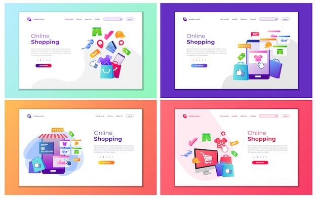 Illustrazione vettoriale moderno di shopping online e shopping store. concetto di design moderno di progettazione di pagine web per sito web e sito web mobile.