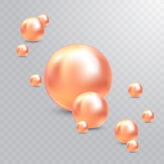 Illustrazione vettoriale per il vostro disegno. splendidi gioielli di lusso splendenti con perle rosa. belle perle naturali lucide. con riflessi trasparenti e riflessi per il deco