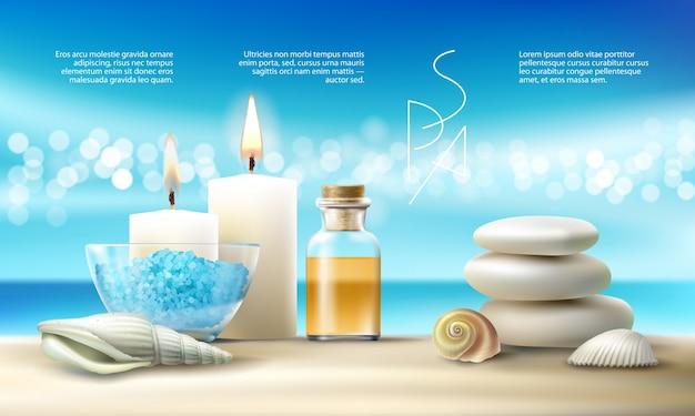 Illustrazione vettoriale per trattamenti termali con sale aromatico, olio da massaggio, candele.