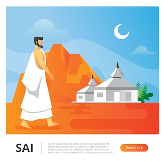 Illustrazione vettoriale per uomo durante la stagione di hajj a piedi dietro il campo