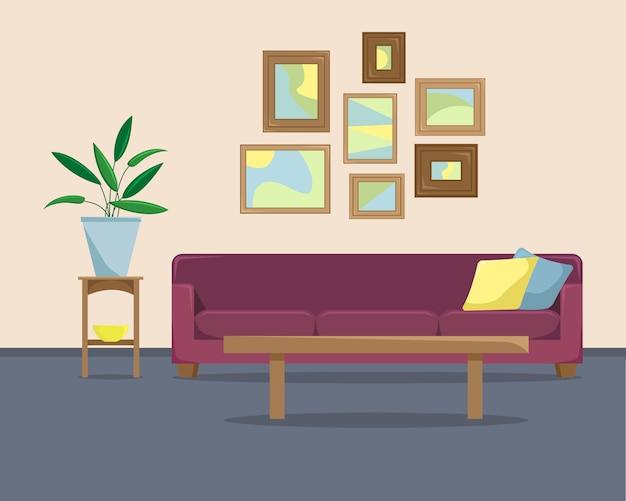 Illustrazione vettoriale piana con un divano e immagini su una parete.