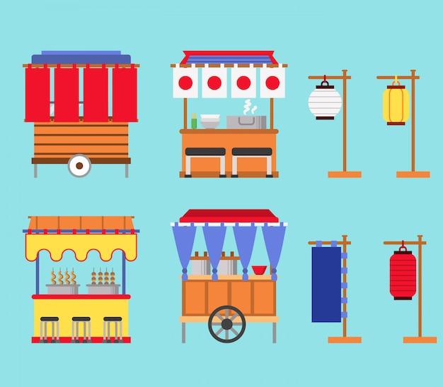 Illustrazione vettoriale piana della stalla del cibo di strada del giappone.