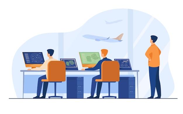 Illustrazione vettoriale piatto isolato centro di controllo di volo sala di comando dell'aeroporto del fumetto o torre per il controllo della pista di volo.