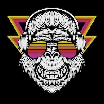 Illustrazione vettoriale retrò di gorilla cuffie