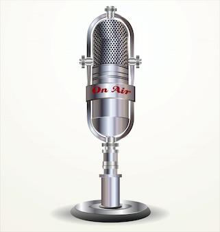 Illustrazione vettoriale retrò microfono