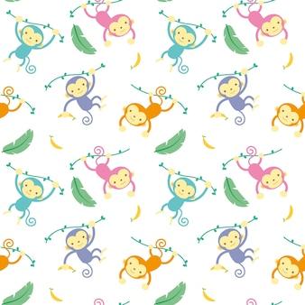 Illustrazione vettoriale seamless pattern con cartoon monkey