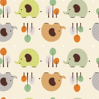 Illustrazione vettoriale seamless pattern con elefante e albero