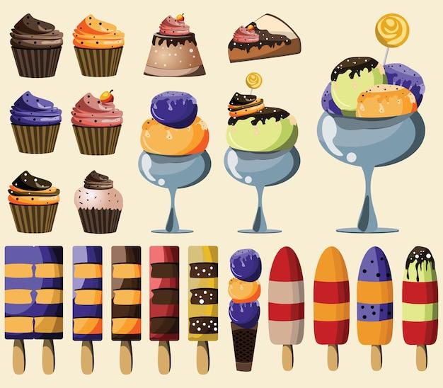 Illustrazione vettoriale set da dessert