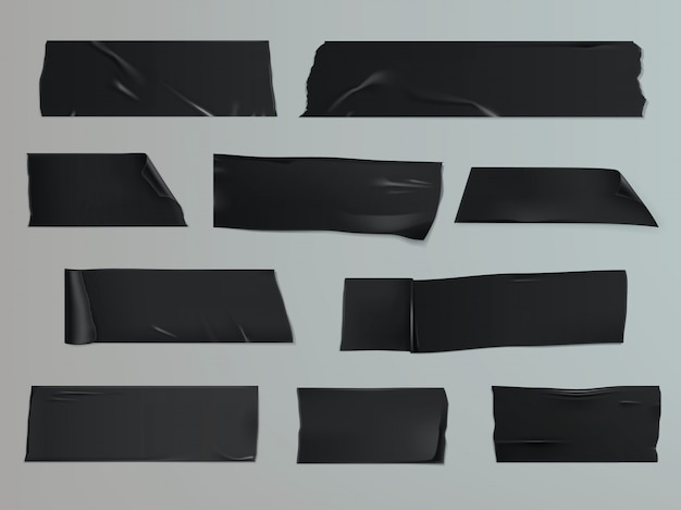 Illustrazione vettoriale set di diverse fette di un nastro adesivo con ombra e rughe