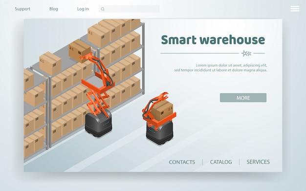 Illustrazione vettoriale smart warehouse in fabbrica.
