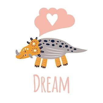 Illustrazione vettoriale stampa simpatica della scuola materna con triceratopo di dinosauro. pin, giallo, grigio. sognare. per magliette, poster, striscioni, biglietti d'auguri per bambini.