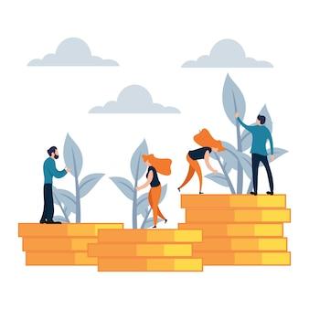 Illustrazione vettoriale stile cartoon piatto di investimento di denaro