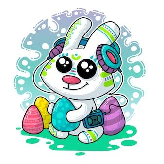 Illustrazione vettoriale su easter bunny